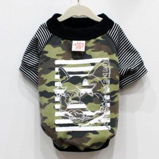 クレイジーフレブルフェイス カモフラ×ブラックボーダーTシャツ