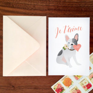 Custom French Bulldog Je T'aime Card | Girl