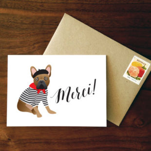 Custom French Bulldog Merci Card