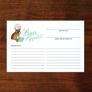 Custom French Bulldog Bon Appétit Recipe Cards