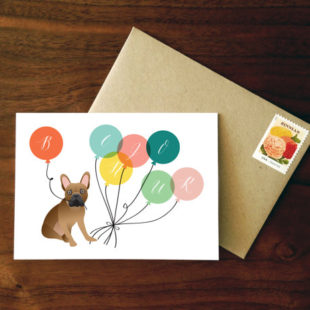 Custom French Bulldog Bonjour Card