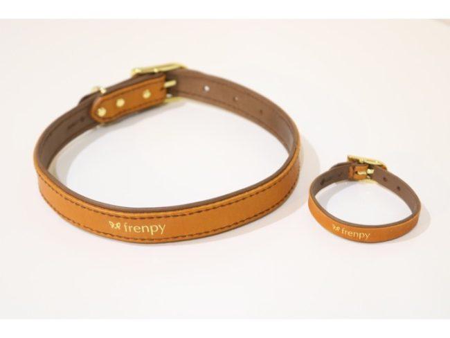 [FBLオリジナル] カラー(首輪)&ブレスレット・おそろいセット(ブラウン)/名入れ可能 [LEBEN×French Bulldog Life products]
