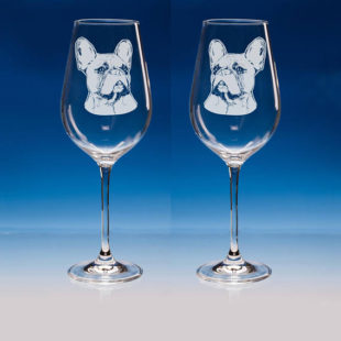 French Bulldog Wine Glasses Set of 2
